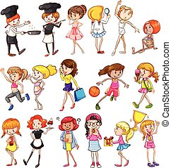 Different activities of girls on a white background