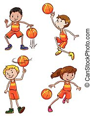 Young basketball players on a white background
