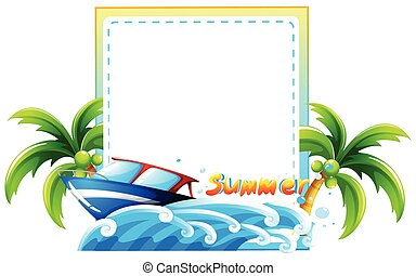 Frame of summer theme with beach and boat