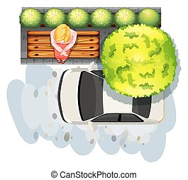 Sidewalk and car - Illustration of a woman sitting on a...