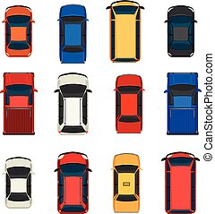 A group of vehicles - A topview of a group of vehicles on a...