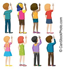 Faceless - Set of faceless kids in writing pose