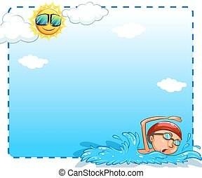 Frame - Boy swimming on a sunny day design frame