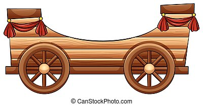 Improvised wooden bandwagon on a white background