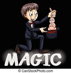 Magician using a hat with a bunny on a black background