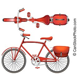 A red bicycle on a white background