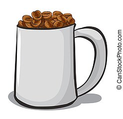 A mug full of coffee beans on a white background