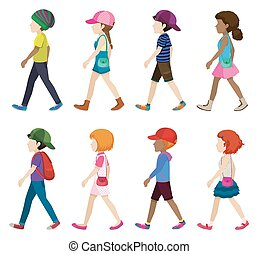 Faceless young girls and boys walking on a white background