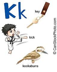 """""""Letter K for key, kick and kookaburra"""" - """"Letter K for key,..."""