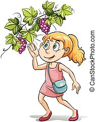 A girl and a grapevine - An idiom showing a girl and a...