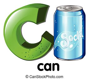 A letter C for can on a white background