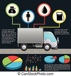 An infochart of a delivery van on a gray background