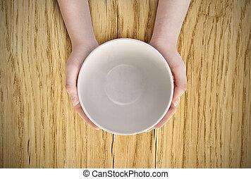 vazio, prato, em, mão,