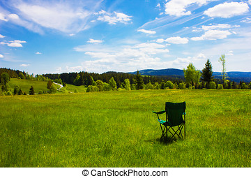 Camping Chair in a Scenic Mountaineous Environment