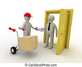 3d worker delivering package