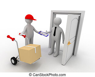 3d worker delivering package
