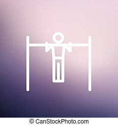 Pull up exercise in bar thin line icon - Pull up exercise in...