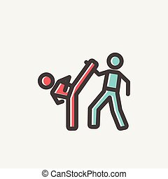 Karate fighters thin line icon