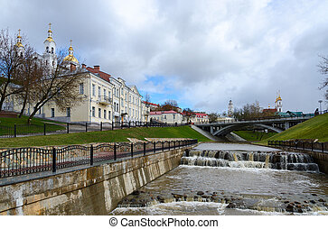 Estuary spring Vitba and views of the Pushkin Bridge -...