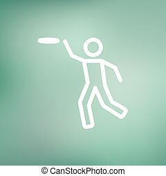 Man catching a flying disc thin line icon - Man catching a...