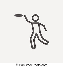 Man catching a flying disc thin line icon