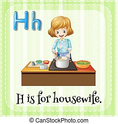 Housewife - Flashcard letter H is for housewife