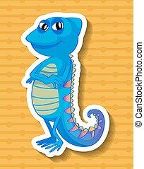 Iguana - Close up iguana standing on yellow background