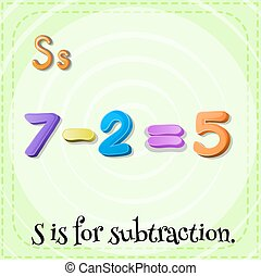 Subtraction - Flashcard letter S is for subtraction