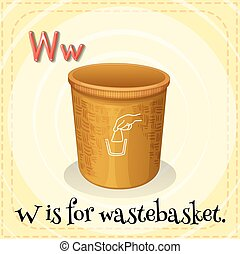 Wastebasket - Flashcard letter W is for wastebasket