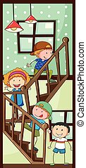 Children and stairs - Children walking up the stairs