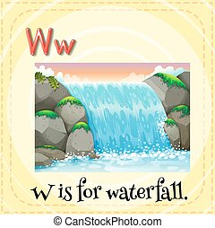 Waterfall - Flashcard letter W is for waterfall