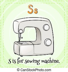 Sewing machine - Flashcard letter S is for sewing machine