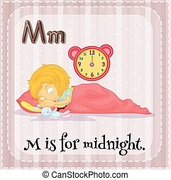 Midnight - Flashcard letter M is for midnight