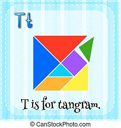 Tangram - Flashcard letter T is for tangram