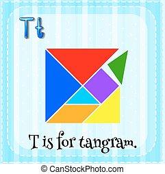 Tangram - Flashcard letter T is for tangram