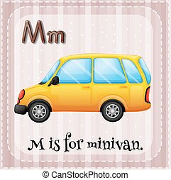 Minivan - Flashcard letter M is for minivan