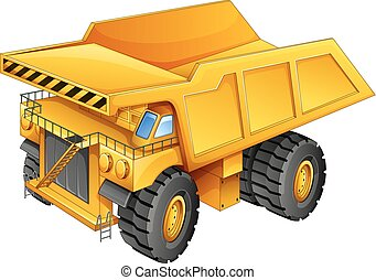Mining truck - Closeup simple design of yellow mining truck