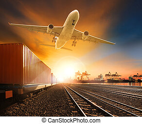 industry container trainst running on railways track plane...