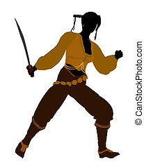 Female Pirate Silhouette - A Female pirate silhouette on a...
