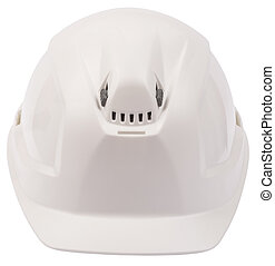 White helmet on isolated white background, close-up view