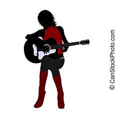 Female Musician Illustration Silhouette
