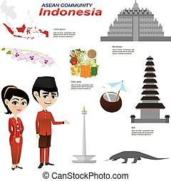 cartoon infographic of indonesia asean community -...