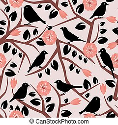 branches, leaves, birds and flowers - seamless background...