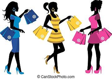 shopaholics - three elegant female silhouette with shopping...