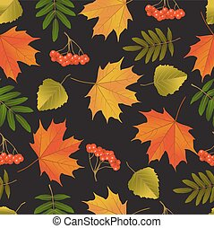 Seamless background with autumn leaves and berries of...
