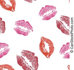 seamless pattern with lips imprints