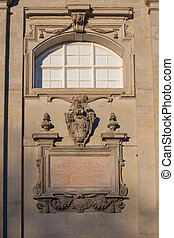 Cartouche on the wall of St Casimirs Chapel in Vilnius West...
