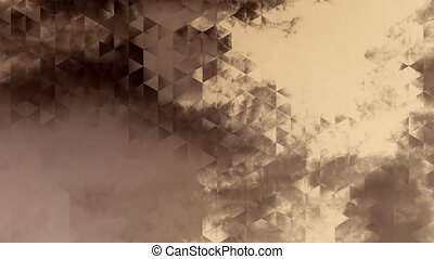 graphic animation with triangles and encrusted clouds in...