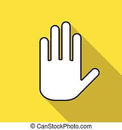 Icon hand on a yellow background