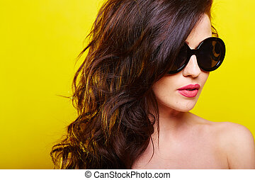 young gorgeous caucasian woman wearing sunglasses -...